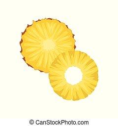 plat, mûre, tranches, fruit., deux, élément, conditionnement, jus, vecteur, pineapple., délicieux, exotique, yaourth, ou, rond, icône