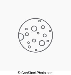 plat, maan, pictogram