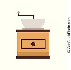 plat, machine café, broyeur, vecteur, moulin, vue