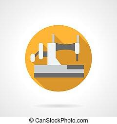 plat, machine coudre, vecteur, maison, rond, icône