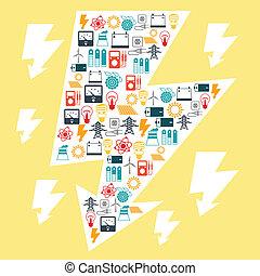 plat, macht, iconen, industrie, ontwerp, achtergrond, style.