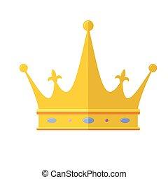 plat, macht, schets, gouden, eenvoudig, kroon, symbool, koninklijk, vrijstaand, pictogram., symbolen, achtergrond., vector, pictogram, witte , pictogram, kleur, crown.