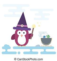 plat, magie, illustration., moderne, caractère, stylisé, pot., sorcière, crosse, manchots