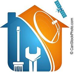 plat, maison, satellite, installation