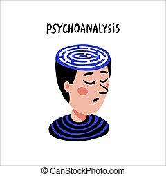 plat, maladies, illustration., aide, head., concept, griffonnage, problems., caractère, style, neurologique, solution, psychologique, psychology., vecteur, psychoanalysis., labyrinthe, homme, thérapie, psychologie