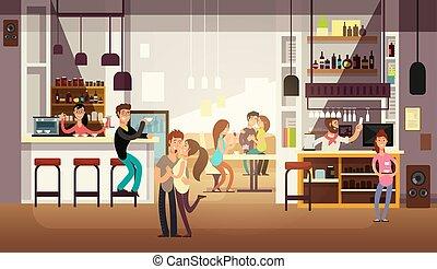 plat, manger, gens, illustration, déjeuner, vecteur, interior., barre, café