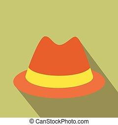 plat, mannelijke , hoedje, pictogram