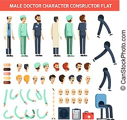plat, mannelijke , karakter, arts, constructor