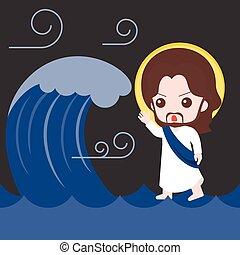 plat, marche, bible, mer, illustration, , jésus, bas, conception, calme, orage, histoire