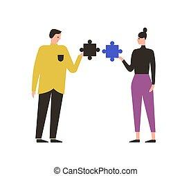 plat, mariage, relation, femme, problème, puzzle, montage, isolé, thérapie, divorce, dessin animé, illustration., décalage, mâle, puzzle, couple, white., vecteur, gens, concept, mal