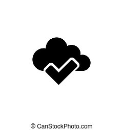 plat, marque, vecteur, chèque, nuage, icône