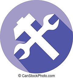 plat, marteau, traversé, clé, icône