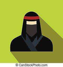 plat, masque, femelle noire, ninja, icône