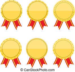 plat, medailles, rbbons, gouden