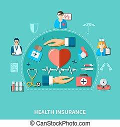 plat, medisch concept, verzekering
