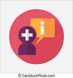 plat, medisch, lang, toespraak, schaduw, pictogram