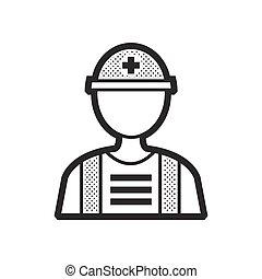 plat, medisch, redders, avatar, pictogram