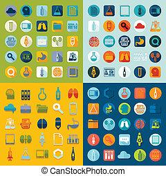 plat, medisch, set, iconen