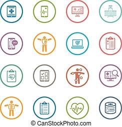 plat, &, medische pictogrammen, gezondheidszorg, set., design.