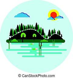 plat, meer, bomen, helling, vector, ontwerp, bos, bedekt, ...