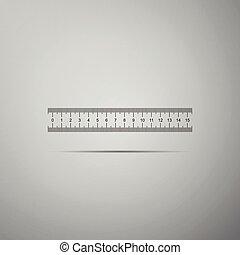 plat, meetlatje, vrijstaand, illustratie, grijze , achtergrond., vector, straightedge, pictogram, symbool., design.