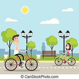 plat, mensen, bikes., illustratie, vector, paardrijden, spotprent