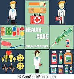 plat, mensen, gezondheid, ontwerp, spotprent, care