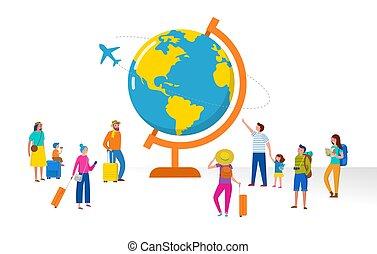 plat, mensen, globe, moderne, scène, illustratie, reizen, miniatuur, vector, avontuur, style., toerisme