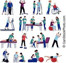 plat, mensen, iconen, verzameling, fysiotherapie, rehabilitatie