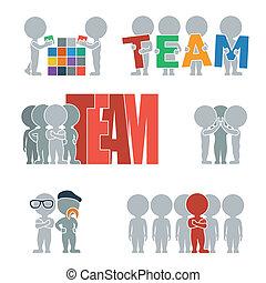 plat, mensen, -, team