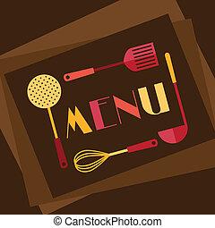 plat, menu restaurant, conception, fond, style.