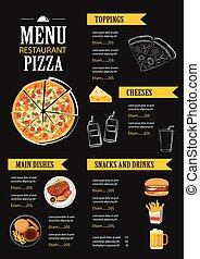 plat, menu restaurant, vecteur, conception, gabarit, café