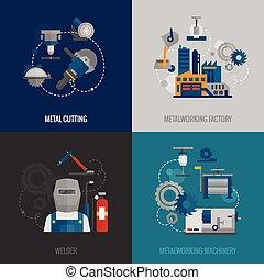 plat, metalworking, usine, 4, icônes