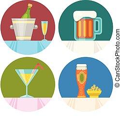 plat, mettez stylique, boisson, icônes