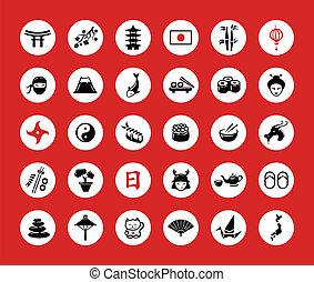 plat, mettez stylique, japonaise, icônes