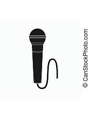 plat, microfoon, grijs, stijl, vrijstaand, achtergrond., vector, pictogram