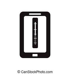 plat, mobile, app, noir, blanc, icône