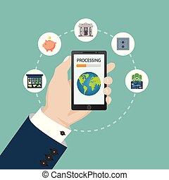 plat, mobile, concept., illustration, banque, vecteur, design.