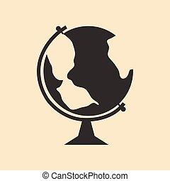 plat, mobile, globe, application, noir, blanc, icône
