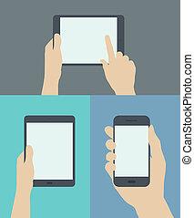 plat, mobile, illustration, appareils, numérique, utilisation
