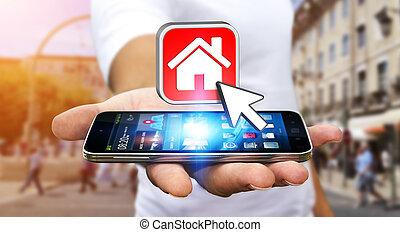 plat, mobile, moderne, téléphone, loyer, homme affaires, utilisation