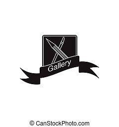 plat, mobile, noir, blanc, galerie, icône