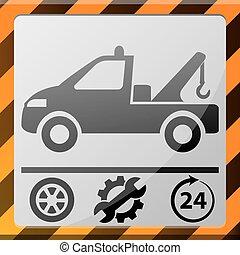 plat, mobile, voiture, application, icône, evacuator
