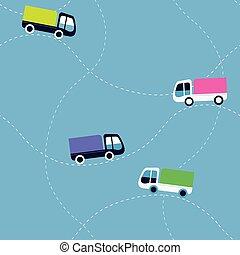 plat, modèle, camions, seamless, dessin animé, vecteur