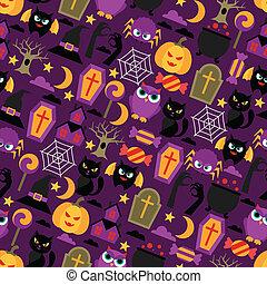 plat, modèle, halloween, seamless, icons., heureux