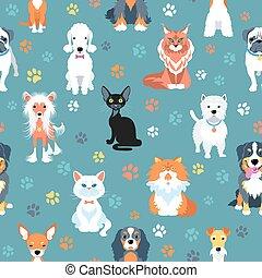 plat, modèle, seamless, chats, conception, chiens