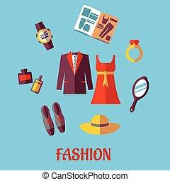 plat, mode, icônes
