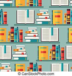 plat, model, bookshelves, seamless, boekjes , ontwerp, style.