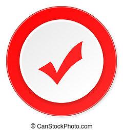 plat, moderne, accepter, conception, fond, cercle, 3d, blanc rouge, icône
