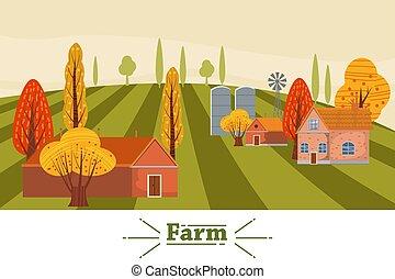 plat, moderne, automne, conception, paysage, style, isolé, ferme, grange, vert, étang, tours, campagne, meules foin, text., illustration, fond, dessin animé, ensilage, vecteur, endroit, rural, éolienne